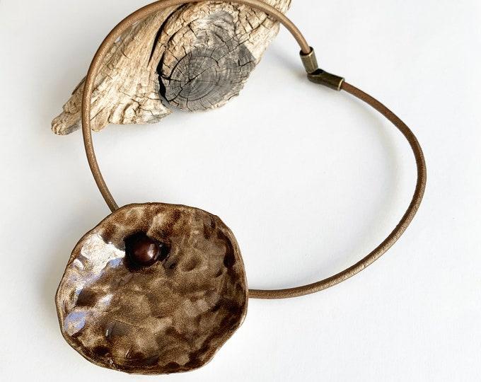 Big organic circle ceramic pendant - statement ceramic necklace