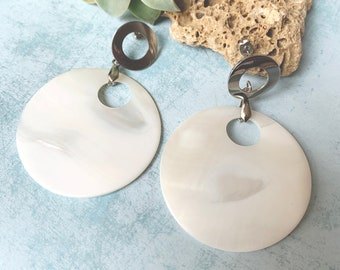 Statement mother of pearl large circle earrings - big circle stud earrings