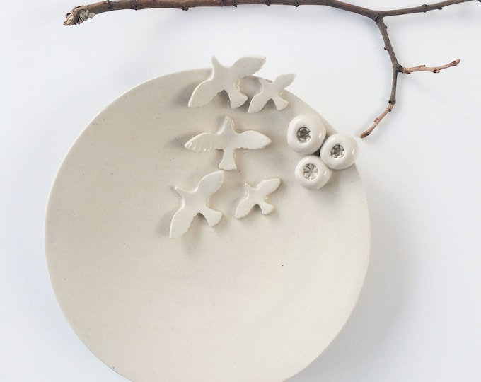 Decorative ceramic plate birds and nests - white stoneware jewelry dish - rustic handmade ceramic plate - cozy home decor -housewarming gift
