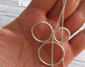 Silver necklace open circles -minimalist necklace -geometric contemporary jewellery - gift for her -hoops necklace - bubbles necklace -rings
