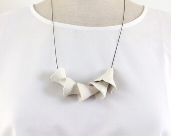 Statement organic porcelain necklace - modern abstract ceramic necklace - nature inspire