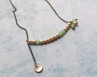Asymmetric Necklace- delicate chain necklace- minimalist jewelry -mother of pearl - glass beads - romantic style