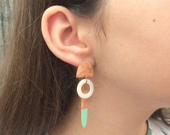 stud dangle earrings - boho copper earrings - geometric earrings - dangle and drop - modern earrings - tribal earrings - mother of pearl