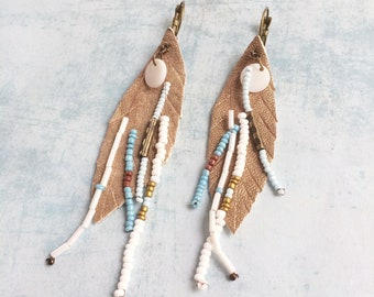 Gold leather feather earrings - boho earrings - fringe earrings - beach jewelry - tropical vibes - mother of pearl - seed beads -women gift