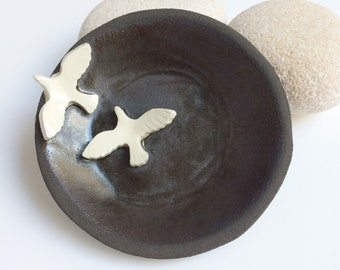 Ceramic bird ring dish - jewelry dish - dark brown stoneware plate - small decorative plate - rustic home decor - housewarming gift