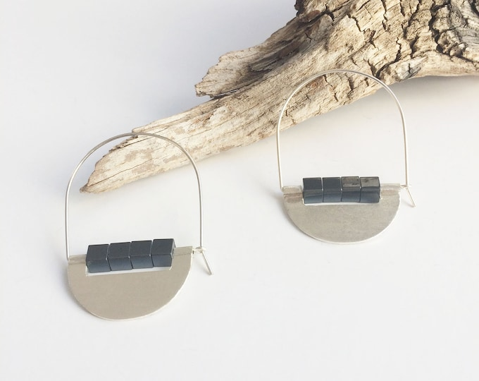 Hoop sterling silver earrings -tribal earrings -geometric earrings -hematite circle stone -half  moon