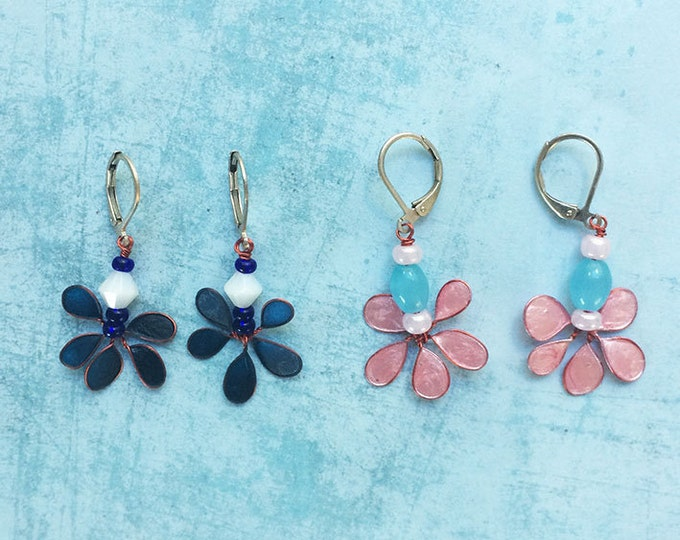 Dangle and Drop Earrings - set earrings - floral earrings - pending earrings - flower earrings - gif for her - delicate - spring jewelry