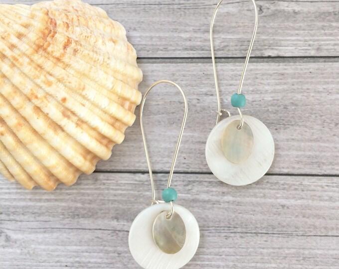 Mother of pearl earrings - shell earrings - long circle earrings - sterling silver - boho chic - beach jewelry - french hook earrings