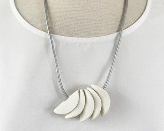 Minimalist porcelain necklace with organic shape - long white porcelain necklace