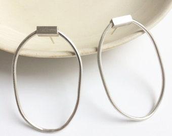 Sterling silver oval hoop earrings - statement minimal earrings - geometric jewelry - contemporary silver jewellery - modern - gift for her