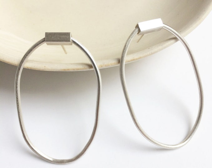 Sterling silver open oval hoop earrings - statement geometric minimal earrings