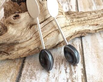Long dangle and drop silver earrings - long stud agate earrings - oval agate earrings - agate jewelry - modern drop earrings - geometric
