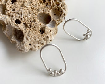 Modern open oval stud earrings - Sterling silver drop oval with dots