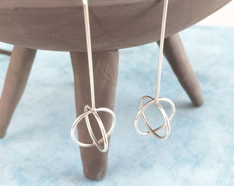 Long circle bar earrings - modern geometric earrings
