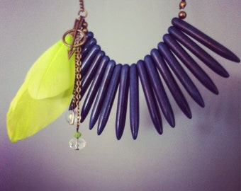 Bohemian feather necklace - asymmetric fringe necklace - tribal jewelry - blue and lime green - ethnic style - natural stone - gift for her