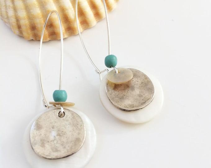 Disc earrings - Mother of pearl earrings - long hook earrings - long boho dangle - summer trendy earrings - boho chic - modern - resort