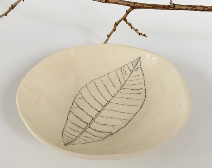 Pressed leaf jewelry dish - nature inspired trinket dish
