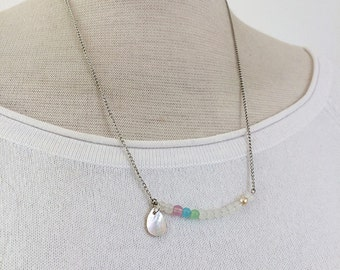 Asymmetric Necklace - delicate necklace - simple necklace - beaded necklace - mother of pearl