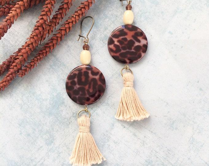Leopard earrings - long tassel earrings - animal print - beaded earrings brown and bege -modern statement earrings -fashion leopard earrings