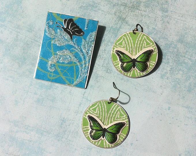 Jewelry set- paper jewelry-butterfly earrings & brooch- glitters -circle dangle and drop earrings -clip on earrings -sale discount jewellery