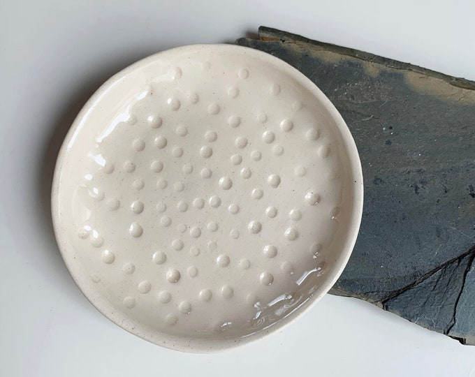 Small jewelry dish with dots - modern white trinket dish - ring holder