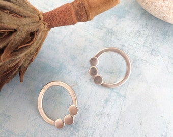 Open circle stud earrings - geometric sterling silver earrings - modern circle earrings