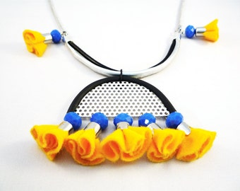 Bib Necklace - tribal jewelry - yellow felt necklace - tribal necklace -statement necklace - tassel necklace