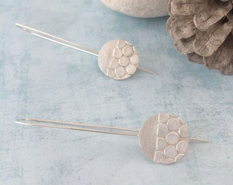 Sterling silver dots earrings - circle texture - hook long earrings - geometric dangles - modern - contemporary jewellery - jewelry for her