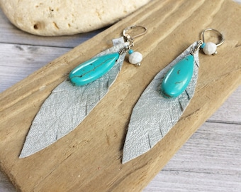Silver leather feather earrings - leaf turquoise earrings - bohemian jewelry - leather jewelry - gift for her