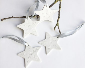 White porcelain star ornament - set of decorative ceramic star to hang