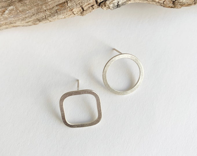 Asymmetrical silver earrings -minimalist earrings - mismatched earrings