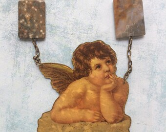 Statement angel necklace - brutalist necklace -vintage angel figure - bold paper necklace - brass and natural stones