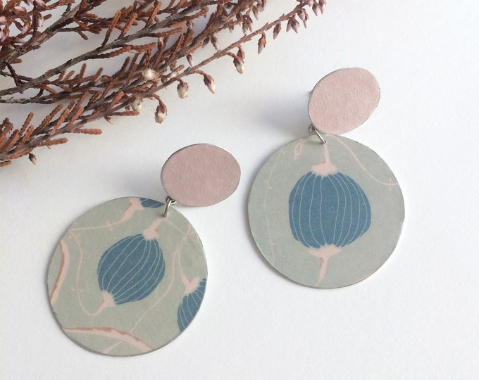 Asymmetric floral earrings - large circle stud earrings - statement paper earrings