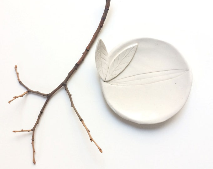 Ceramic leaf plate - jewelry dish - white stoneware - small decorative plate - ceramic ring dish - rustic home decor - housewarming gift