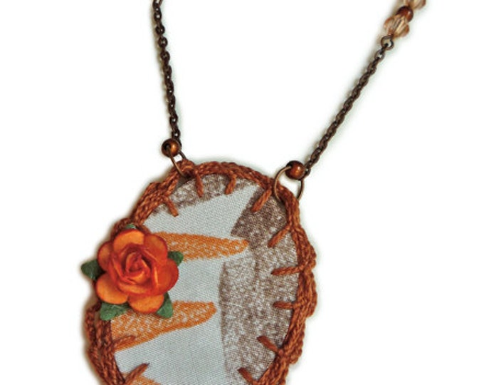 Fabric Necklace - locket fabric necklace - crochet  and paper flower locket - asymmetric necklace - copper chain - gift for her -textile