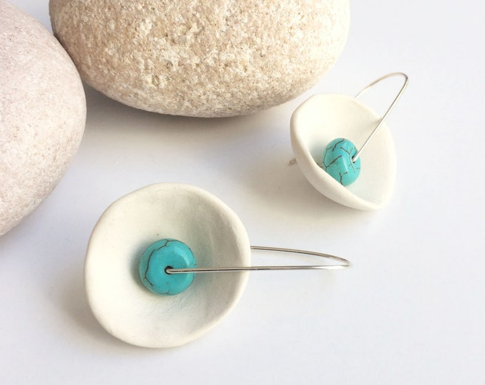 White porcelain and silver earrings - natural turquoise earrings - ceramic jewelry - ceramic earrings - statement porcelain jewelry - modern