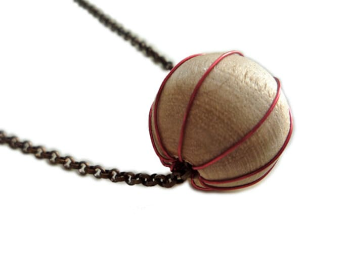 Minimalist Wood Necklace -minimalist necklace -copper - simple jewelry