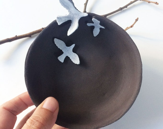Ceramic bird bowl - jewelry dish - dark brown stoneware - small decorative bowl - ceramic ring dish - rustic home decor - housewarming gift