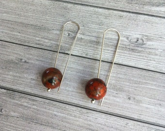 Red obsidian earrings - sterling silver - simple long drop ball earrings - minimal orb earrings - gift for her - modern minimalist jewellery