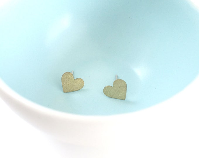 Tiny gold heart earrings - stud brass heart earrings - valentines girlfriend gift - minimalist jewelry - cute jewelry