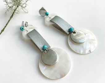 Statement mother of pearl disc earrings - big long circle earrings - modern geometric shell earrings