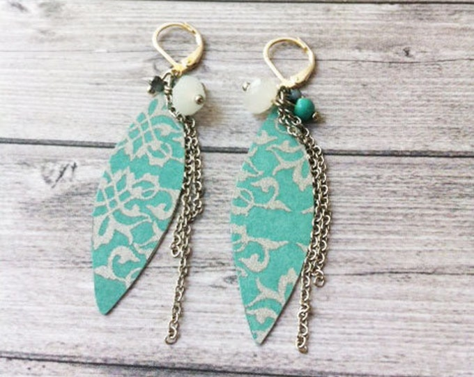 Boho chic earrings - paper earrings - dangle and drop - clip on earrings
