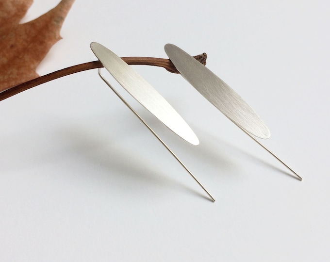 Minimalist long leaf earrings - sterling silver hook earrings - contemporary simple jewelry - geometric minimal jewellery - gift for her