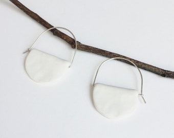 Porcelain hoop earrings - half moon ceramic earrings - sterling silver - geometric white jewelry -statement porcelain jewelry - gift for her