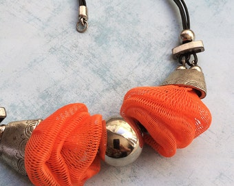 Statement necklace - tribal jewelry - ethnic necklace - orange net necklace - upcycled