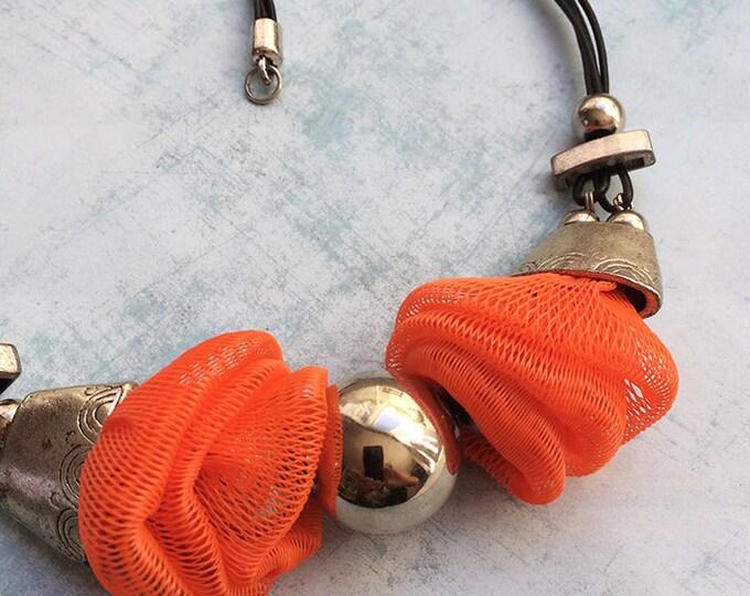 Statement necklace - tribal jewelry - ethnic necklace - orange net necklace - upcycled