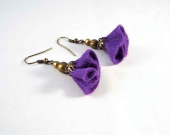 Felt Earrings - felt flower earrings - purple felt earrings - Dangle and drop -wire on earrings -textile jewelry- gift for her