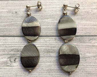 Stud earrings - shades of gray- asymmetric pattern - stud dangle and drop earrings - gift for her - long earrings - pending earrings