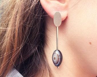 Long brown agate earrings - oval stud stone earrings - statement sterling silver earrings - modern agate jewelry - contemporary jewellery