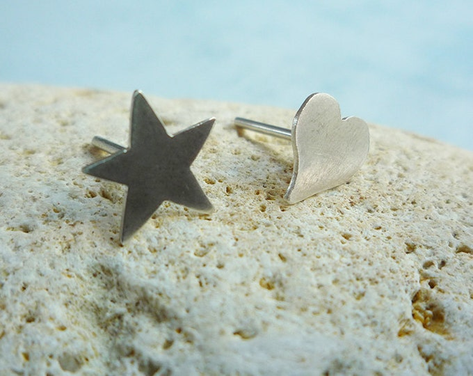 Asymmetrical stud earrings - mismatched earrings - star and heart - sterling silver - minimalist jewelry - everyday earrings -valentine gift